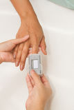 Patient with pulse oximeter Stock Image
