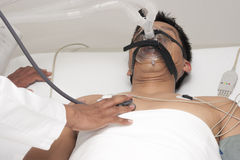 Patient receives artificial ventilation Royalty Free Stock Image