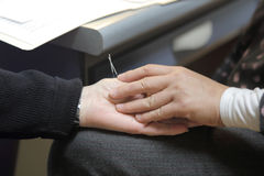Patient receiving acupuncture. Needles at a clinic Stock Photography