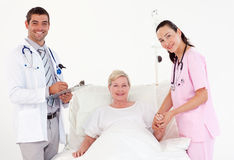 Patient recovering in a hospital Stock Image