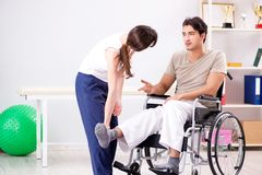 The patient recovering in hospital after injury trauma. Patient recovering in hospital after injury trauma Royalty Free Stock Photography