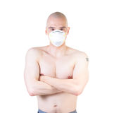 Patient in respirator mask. Royalty Free Stock Image