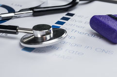 Patient`s condition chart. Stethoscope and reflex Hammer on health condition chart closeup Royalty Free Stock Photography