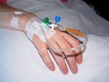Patient's hand with dropper infusion needle Royalty Free Stock Images