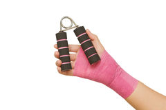 Patient 's hand with hand grip exercise Royalty Free Stock Photography
