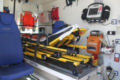 Ambulance interior details. Emergency equipment and devices visible Stock Photo