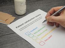 Patient satisfaction survey - excellent Stock Image