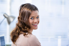 Patient smiling at clinic. In hospital Royalty Free Stock Photography