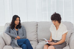 Patient speaking to her therapist Stock Photos