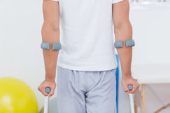 Patient standing with crutch Stock Photography
