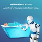Patient on Surgical Table Smart Robot Point Tablet. Futuristic Surgery Operating Room. Artificial Intelligence Bot Cyborg Doctor. Innovation in Medicine royalty free illustration