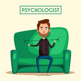 Patient talking to psychologist. Cartoon vector illustration Royalty Free Stock Images