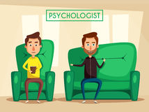 Patient talking to psychologist. Cartoon vector illustration Stock Photos