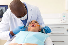 Patient teeth cleaned hygienist Stock Images