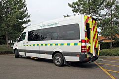 Patient transport vehicle. Photo of patient transport vehicle arriving to collect passengers Stock Images