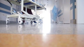 Patient Transportation in Hospital. On Surgical Bed stock footage