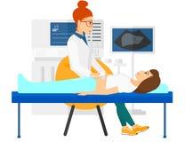 Patient under ultraljudundersökning royaltyfri illustrationer