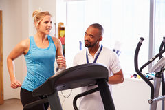 Patient Using Treadmill In Hospital Physiotherapy Department Stock Image
