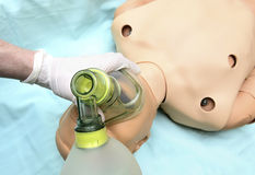 Patient ventilation by a mask. Ventilation of a training phantom by a mask and ambu baloon Stock Photos