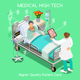 Patient Visit 04 People Isometric. High Tech Healthcare Patient Disease Fast Diagnosis Hospitalization at Medical Clinic Hospital. Elderly Patient Bed with Stock Photo