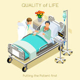 Patient Visit 01 People Isometric. Medical visit young female patient bed and doctor interior hospital clinic room in 3d isometric isometry flat design. Creative Royalty Free Stock Photo
