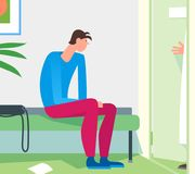 Patient waiting room doctor office. Young man expecting practiti. Oner therapist to invite for examination diagnosis consultation. Simple flat cartoon Royalty Free Stock Image