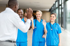 Patient waving goodbye Royalty Free Stock Photography