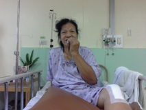 Patient who had a total knee replacement surgery Royalty Free Stock Photo