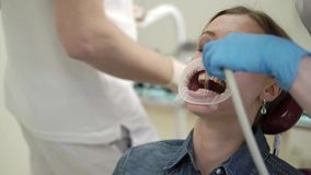 Patient woman at dentist. Orthopedic stock video footage
