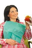 Patient woman receiving an apple royalty free stock image