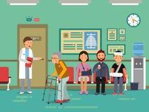Patienter och rörelsehindrat folk som väntar doktorn i kliniskt rum Vektorläkarundersökningillustration stock illustrationer