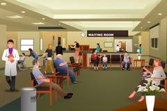 Patienter som väntar i ett väntande rum för sjukhus stock illustrationer
