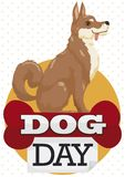 Patiently and Loyal Oriental Breed Dog Waiting for Dog Day, Vector Illustration Royalty Free Stock Photography