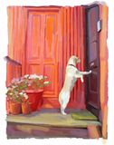 Patiently Waiting Illustration. Illustration of dog waiting to be let into his home stock illustration