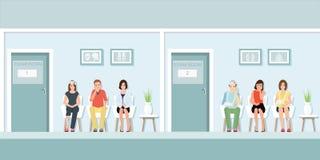 Patients attendant le docteur à l'avant de pièce d'examen illustration libre de droits