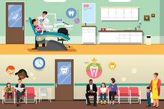 Patients and Dentist at Dental Office Illustration. A vector illustration of Patients and Dentist at Dental Office Stock Photography