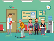 Patients and disabled peoples waiting doctor in clinical room. Vector medical illustration. Patients and disabled peoples waiting doctor in clinical room. Vector stock illustration