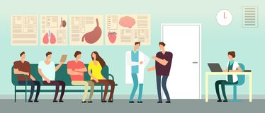 Patients and doctor in hospital waiting room. Disabled people at doctors office. Healthcare vector concept. Hospital and patient with doctor, interior medical vector illustration