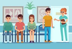Patients in doctors waiting room. People wait hall clinic corridor hospital ambulance professional service, flat vector stock illustration