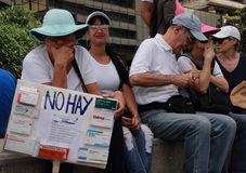 Patients protest over the lack of medicine and low salaries in Caracas Stock Image