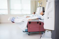 Patients Receiving Renal Dialysis In Chemo Room Stock Photos