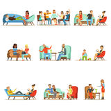 Patients at a reception at the psychotherapies. People talking to psychologist. Psychotherapy counseling, colorful Royalty Free Stock Image