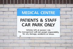 Medical Hospital Car Park Sign Parking For Staff And Patients Only Stock Photography