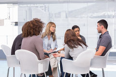 Patients telling their problems to therapist. During session royalty free stock images