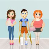 Patients to visit orthopedics. Funny illustration of patients to visit orthopedics Stock Photography