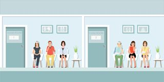 Patients waiting for doctor at front of exam room. Patients waiting for doctor at front of exam room in hospital, Health care and medicalin flat design Vector royalty free illustration