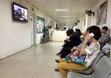 Patients waiting for their turns at a maternity hospital Royalty Free Stock Image