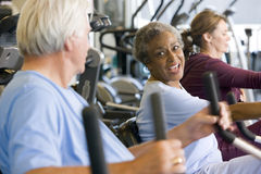 Patients Working Out In Gym Stock Photo
