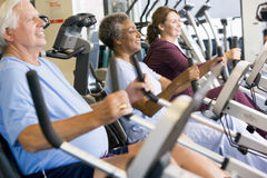 Patients Working Out In Gym. Patients Having Physiotherapy Session In Gym stock image