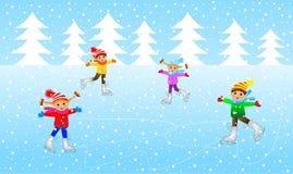 Patim engraçado das crianças ilustração royalty free